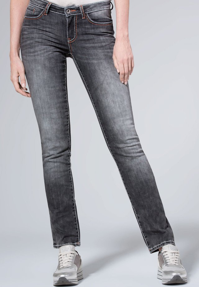 MIT USED-OPTIK UND BREITEN NÄHTEN - Jeans Skinny Fit - gray
