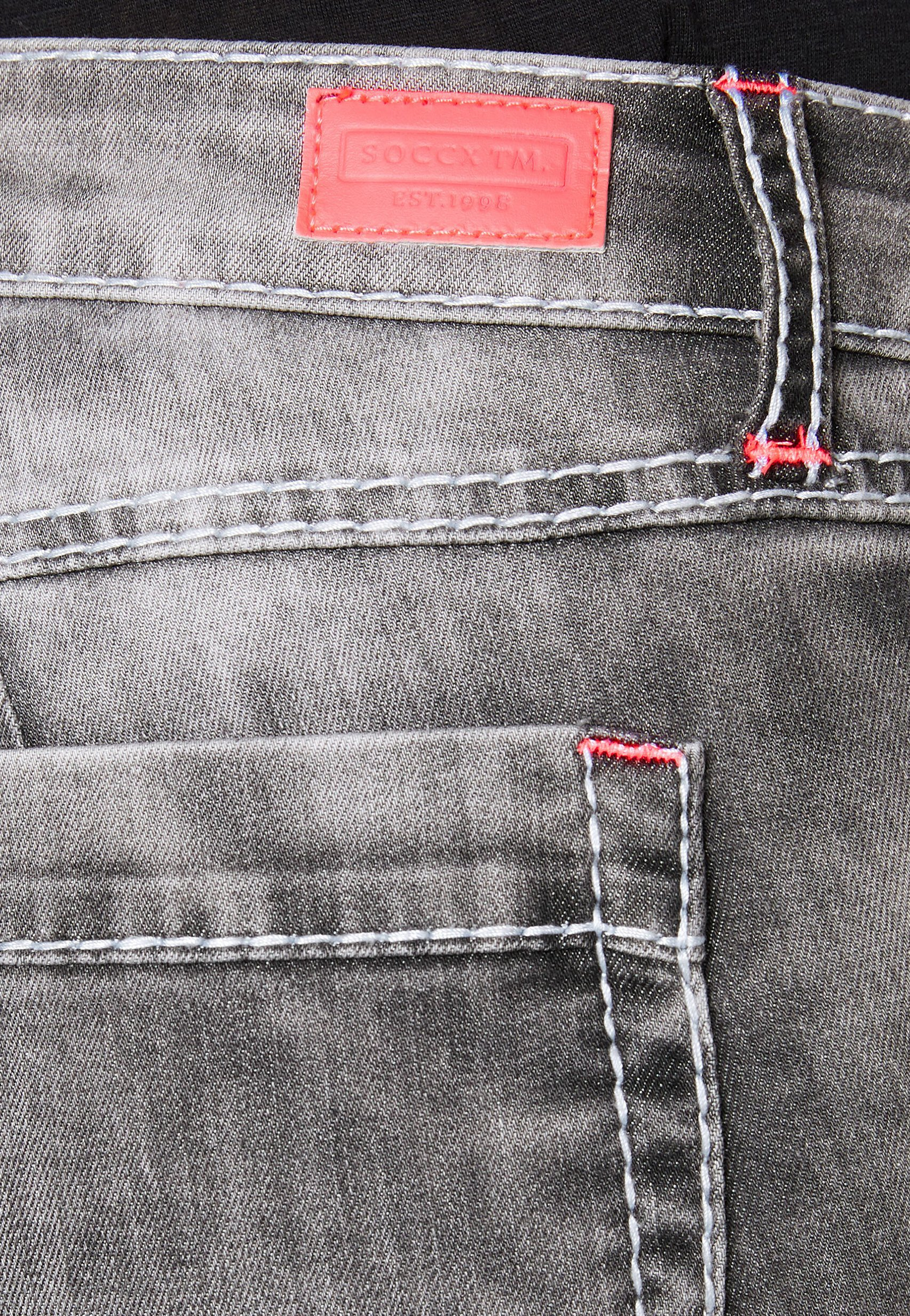 Soccx Mit Kontrastknöpfen - Denim Shorts Dark Grey Used
