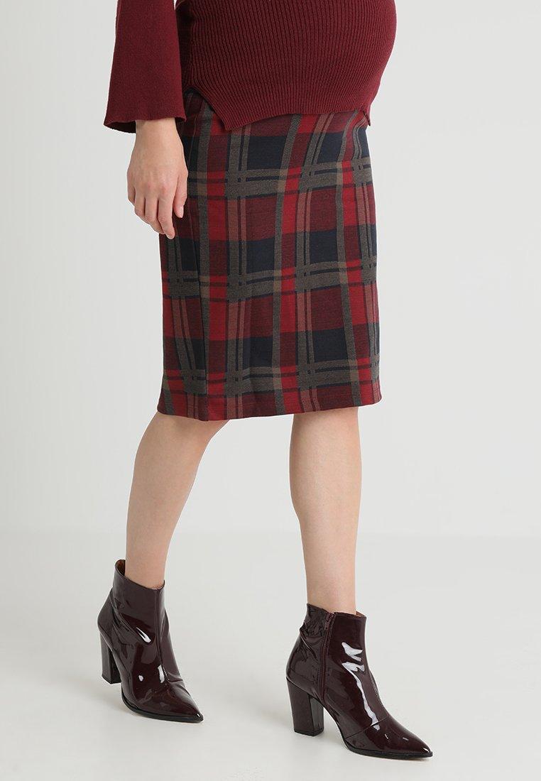 Spring Maternity - PLAIDS PENCIL SKIRT - Pencil skirt - maroon