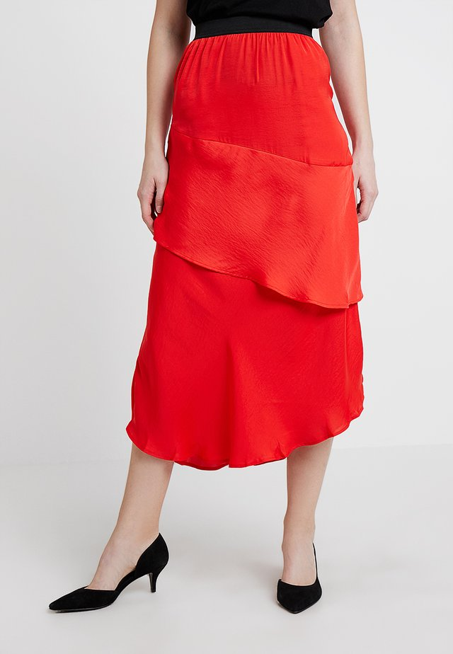 SAMOUR - A-line skirt - raspberry red