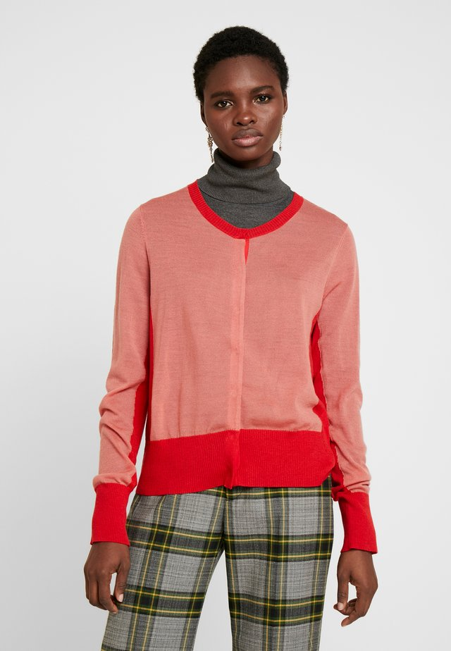 ULLA COLOR BLOCKING - Cardigan - salmon