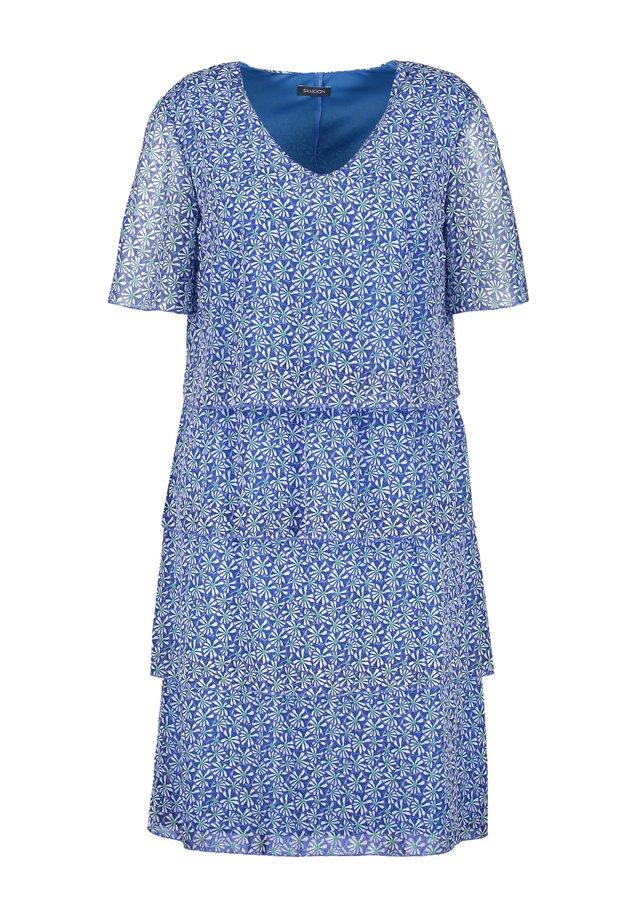 Korte jurk - peacock blue gemustert