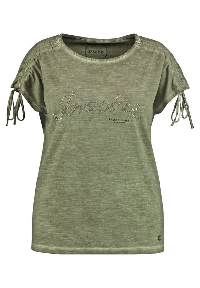 MIT FRONT-APPLIKATION  - T-shirt print - cactus green gemustert
