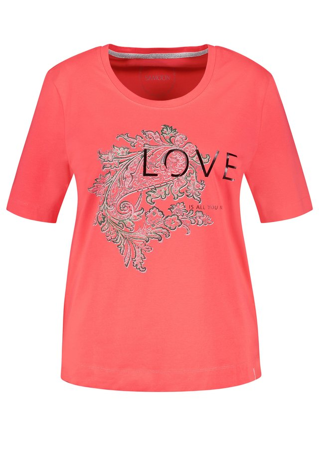 KURZARM RUNDHALS STATEMENT ORGANIC COTTON - T-shirt imprimé - coral gemustert