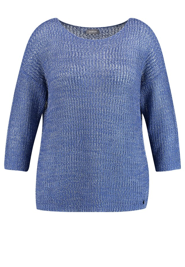 MIT SEMITRANSPARENTEM STRICKM - Pullover - peacock blue