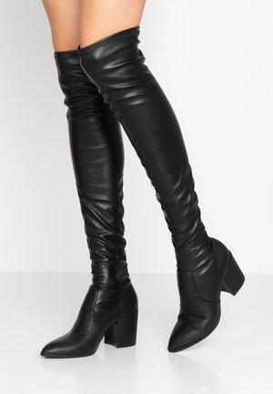 JANEY - Overknee laarzen - black paris