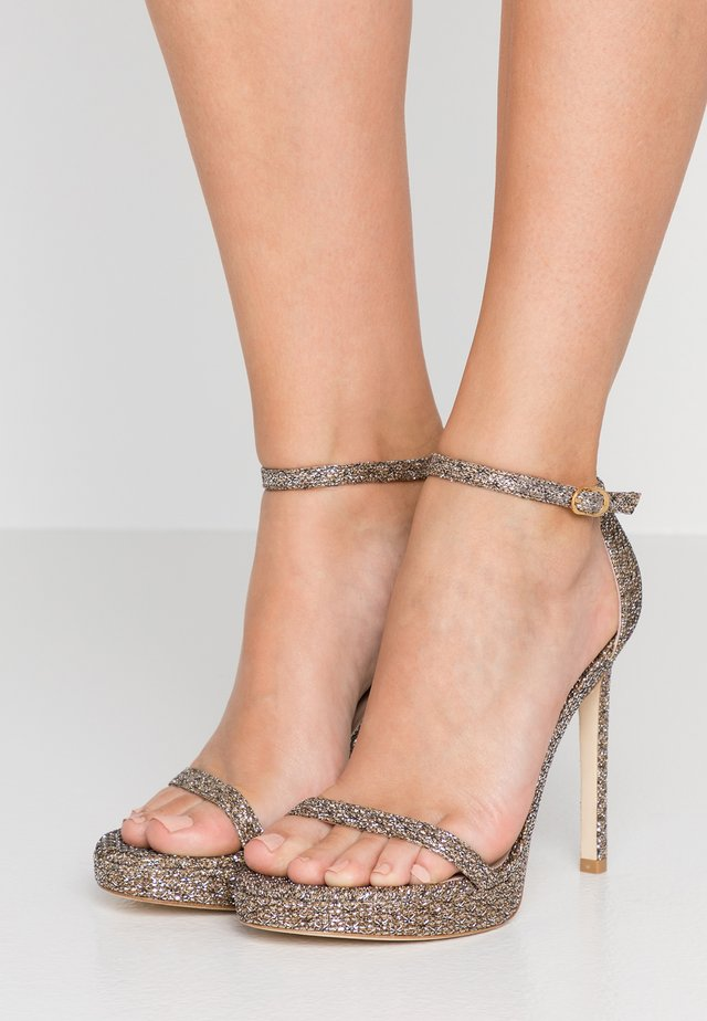 NUDIST DISCO - High heeled sandals - gold/night stars
