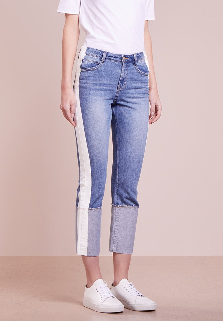 Steve J & Yoni P / SJYP - PAINTED ROLL UP - Straight leg jeans - blue