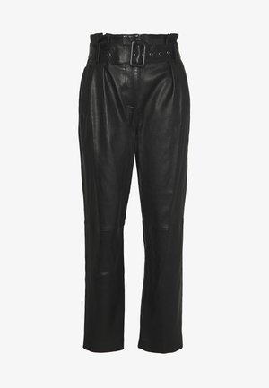MANHATTAN LUXURY  PANTS - Pantaloni di pelle - black