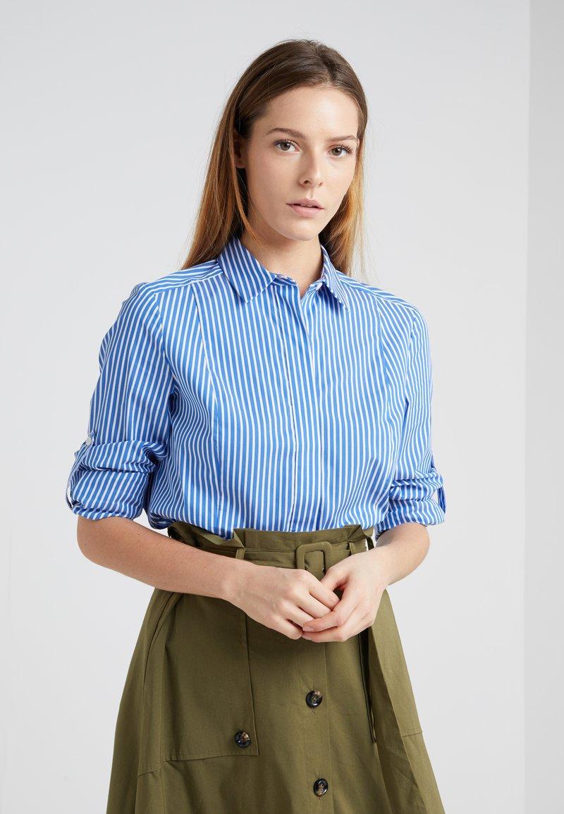Steffen Schraut - BLOUSE - Button-down blouse - power blue/white