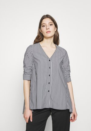 EXCLUSIVE COLARLESS BLOUSE - Blouse - black white