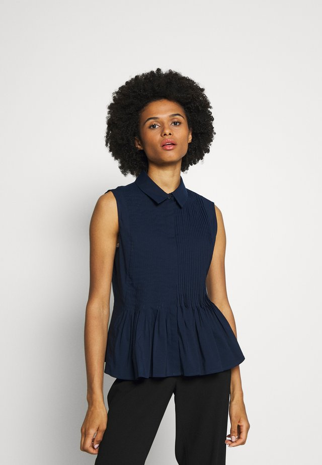 ECXLUSIVE BLOUSE SLEEVELESS - Button-down blouse - navy