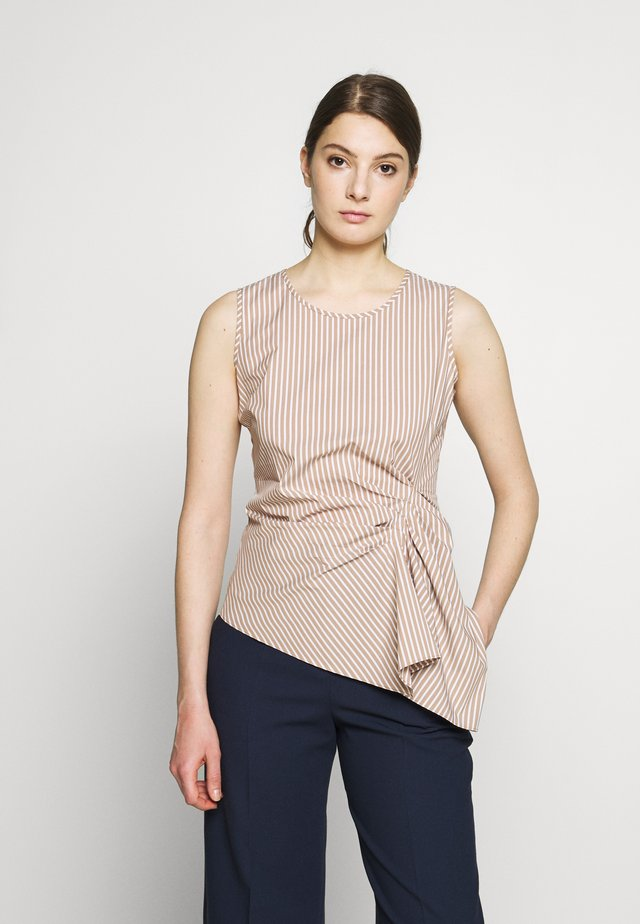 EXCLUSIVE STRIPED DRAPEY BLOUSE TOP - Bluse - sand / white