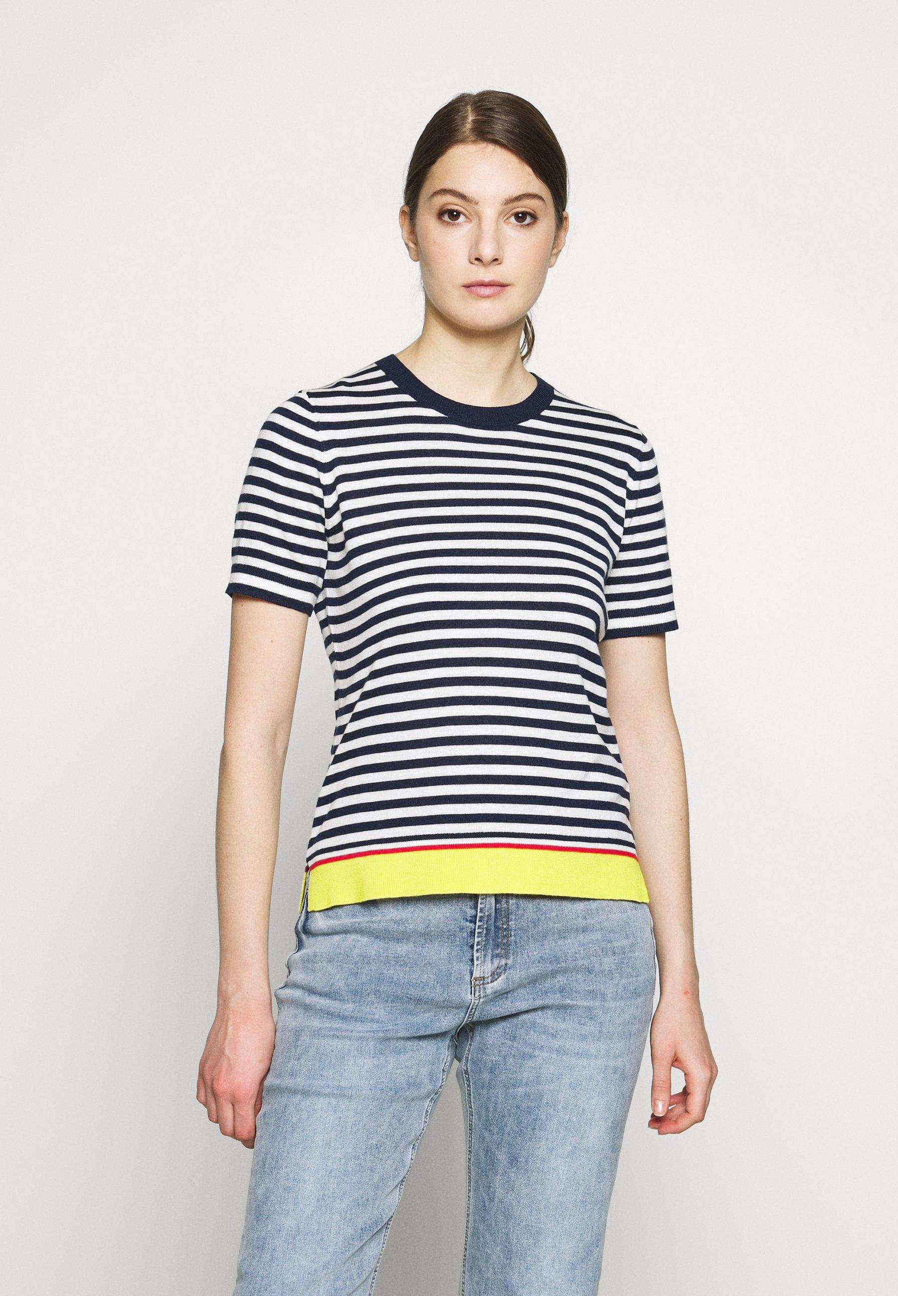 Steffen Schraut CLAIRE ESSENTIAL  - T-shirts - navy/white