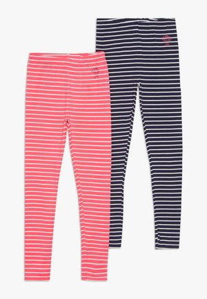 STREIFEN KID 2 PACK  - Legging - neon red/dark marine