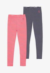 Staccato - STREIFEN KID 2 PACK  - Legging - neon red/dark marine - 3