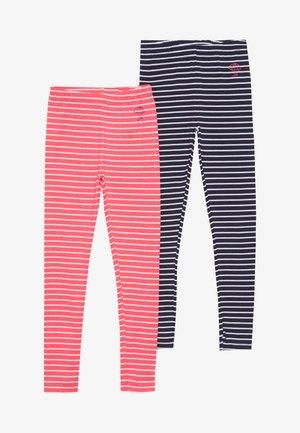 STREIFEN KID 2 PACK  - Legging - neon red/dark marine