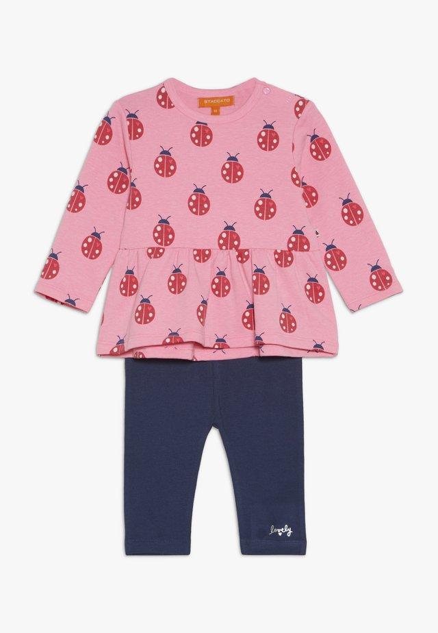 SET - Leggings - Trousers - pink/dark blue