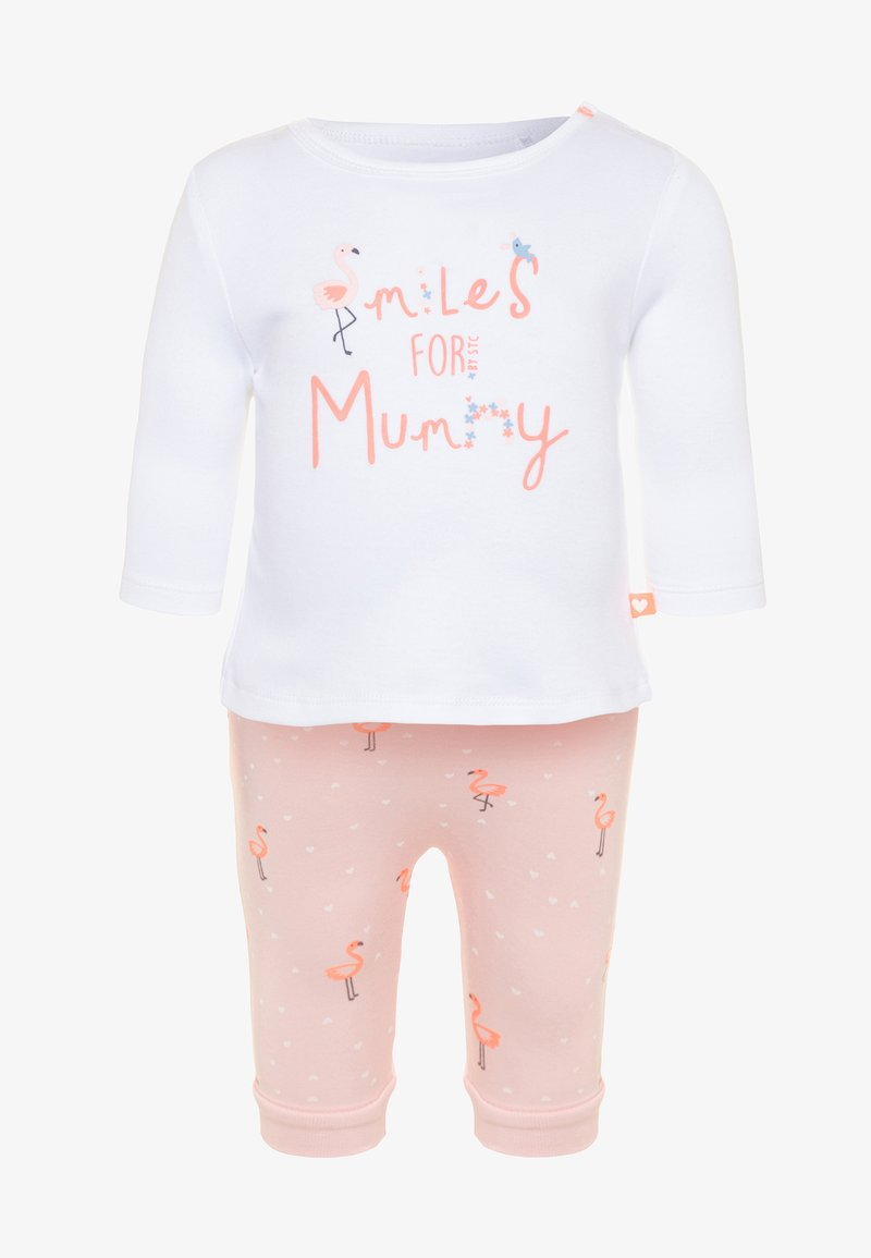 Staccato - LONGSLEEVE PANTS SET - Trousers - soft white/soft peach