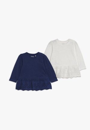 SET 2 PACK - Long sleeved top - white/dark blue