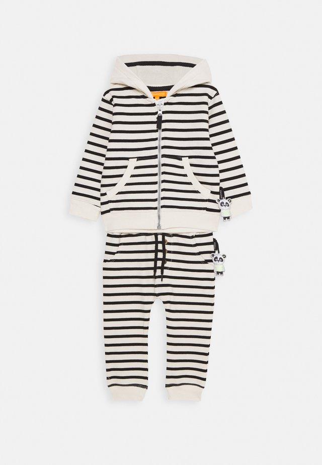 SET - Zip-up hoodie - black/off white