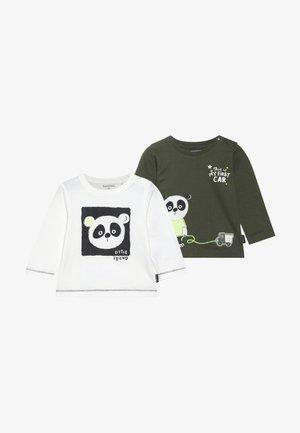 2 PACK - T-shirt print - khaki/offwhite