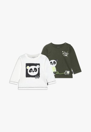 2 PACK - Print T-shirt - khaki/offwhite