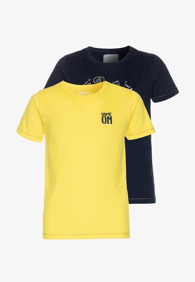 2 PACK - Print T-shirt - navy/yellow