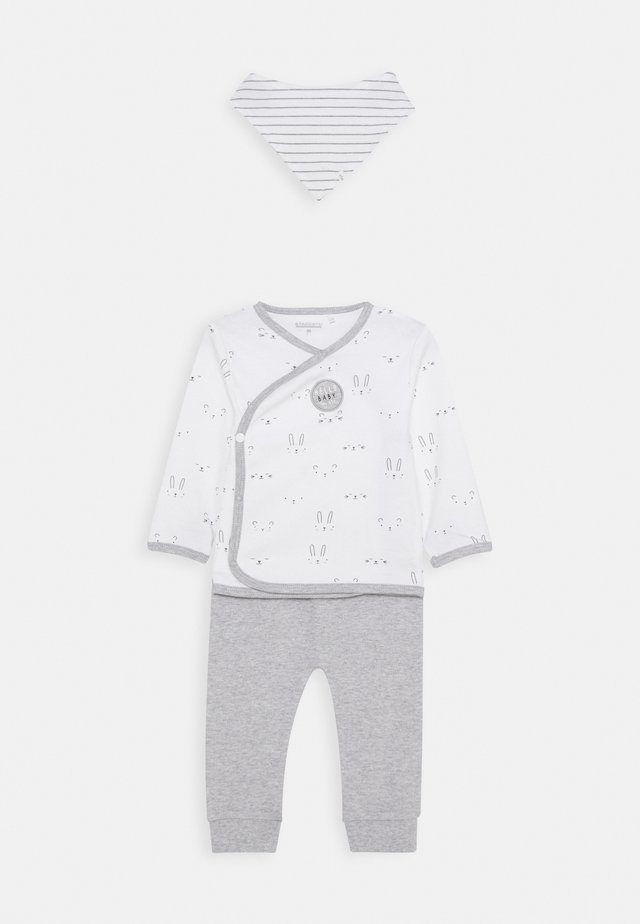 BABY SET - Trousers - white/grey