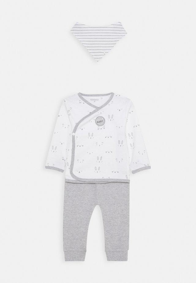 BABY SET - Stoffhose - white/grey
