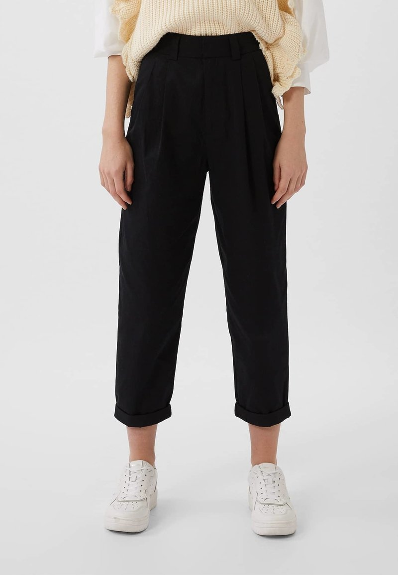 Stradivarius - Trousers - black