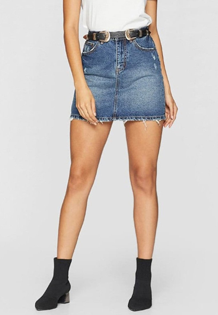 Stradivarius - Denim skirt - blue denim
