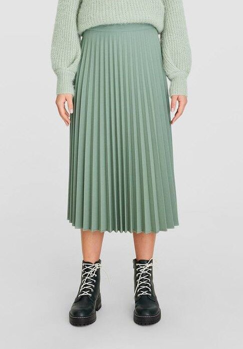 Stradivarius - Pleated skirt - turquoise