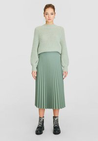 Stradivarius - Pleated skirt - turquoise - 1