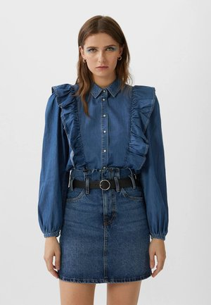 PAPERBACK - Denim skirt - dark blue