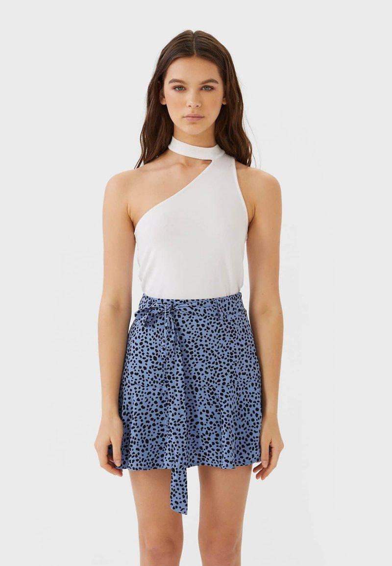 Stradivarius - SKORT - A-line skirt - blue