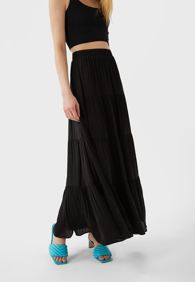 01336780 - Pliceret nederdel /Nederdele med folder - black