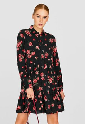 MIT VOLANTS - Shirt dress - black