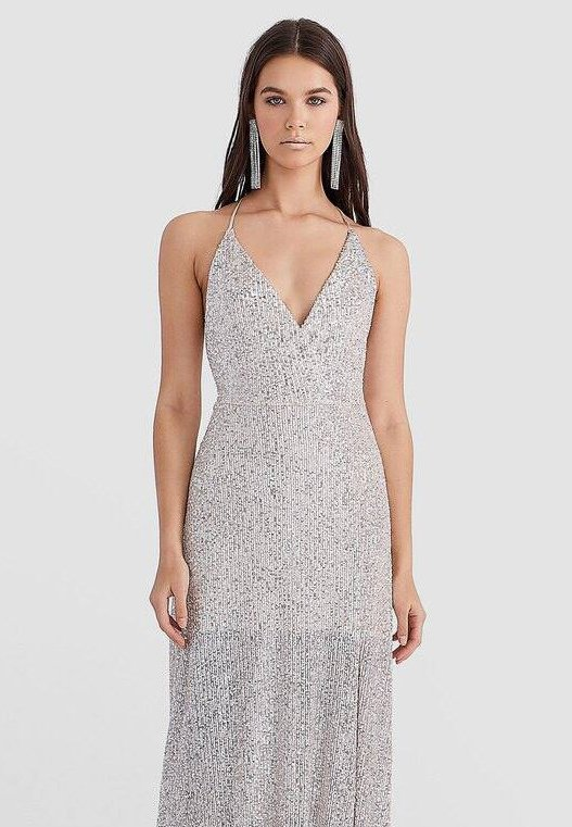 Stradivarius - MIT PAILLETTEN  - Robe de cocktail - grey