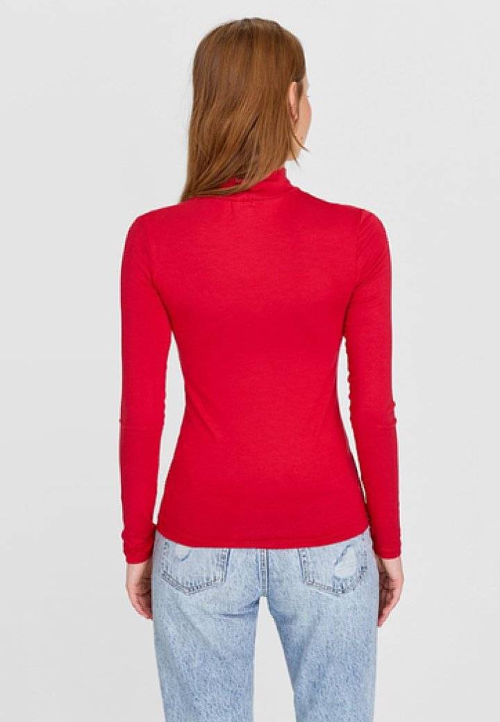 à manches shirt mit RollkragenT red Stradivarius longues 9WEDIbH2Ye