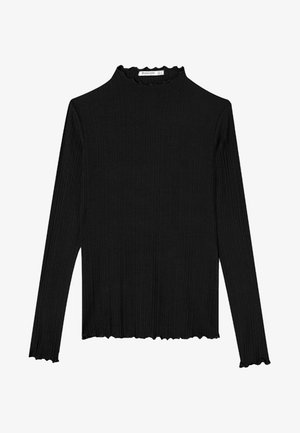 SHIRT MIT GEWELLTEM DETAIL 06519699 - Long sleeved top - black