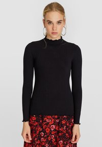 Stradivarius - SHIRT MIT GEWELLTEM DETAIL 06519699 - Long sleeved top - black - 0
