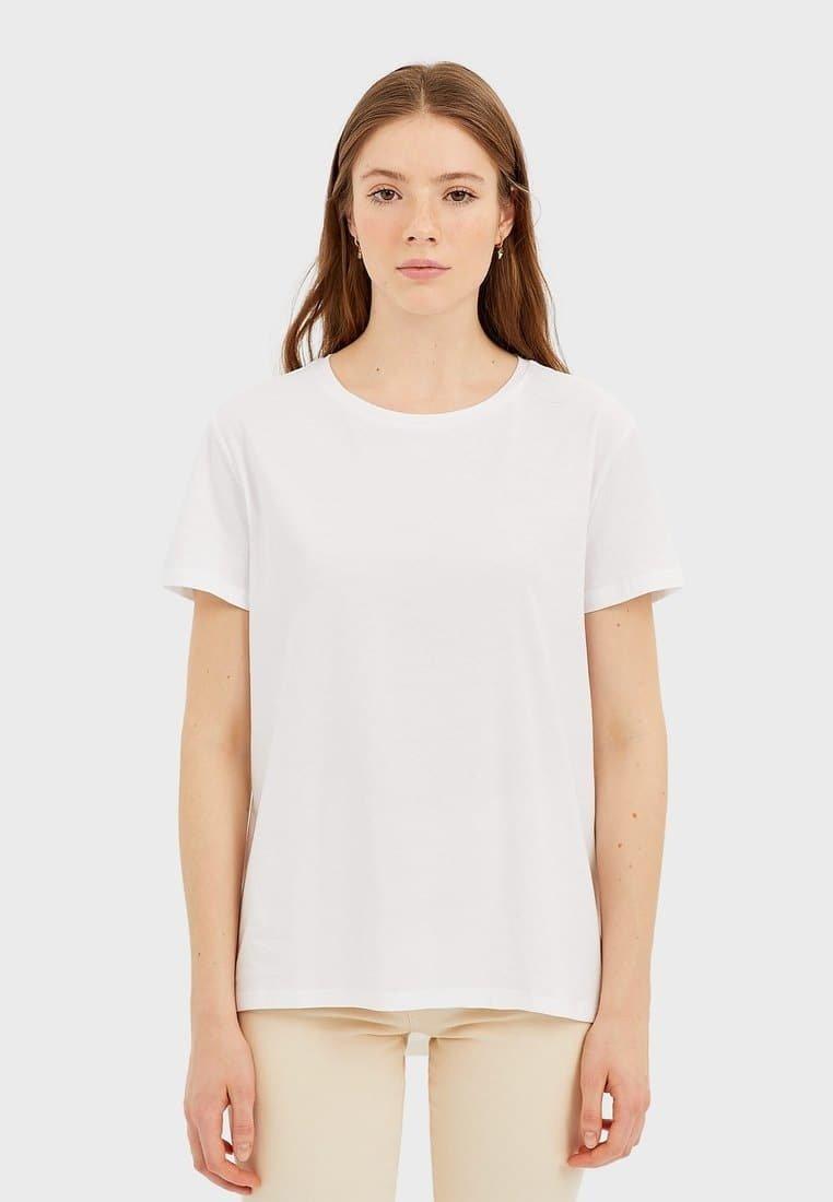 Stradivarius - Basic T-shirt - white