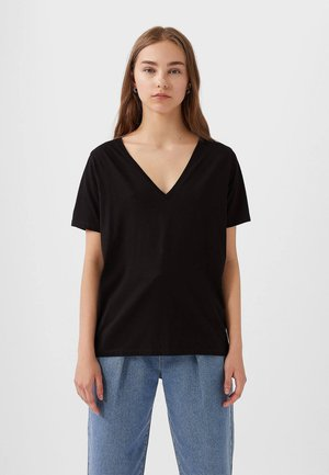 MIT V-AUSSCHNITT  - T-shirts basic - black