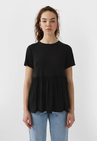 Stradivarius - BASIC-PEPLUM - T-shirts print - black - 0