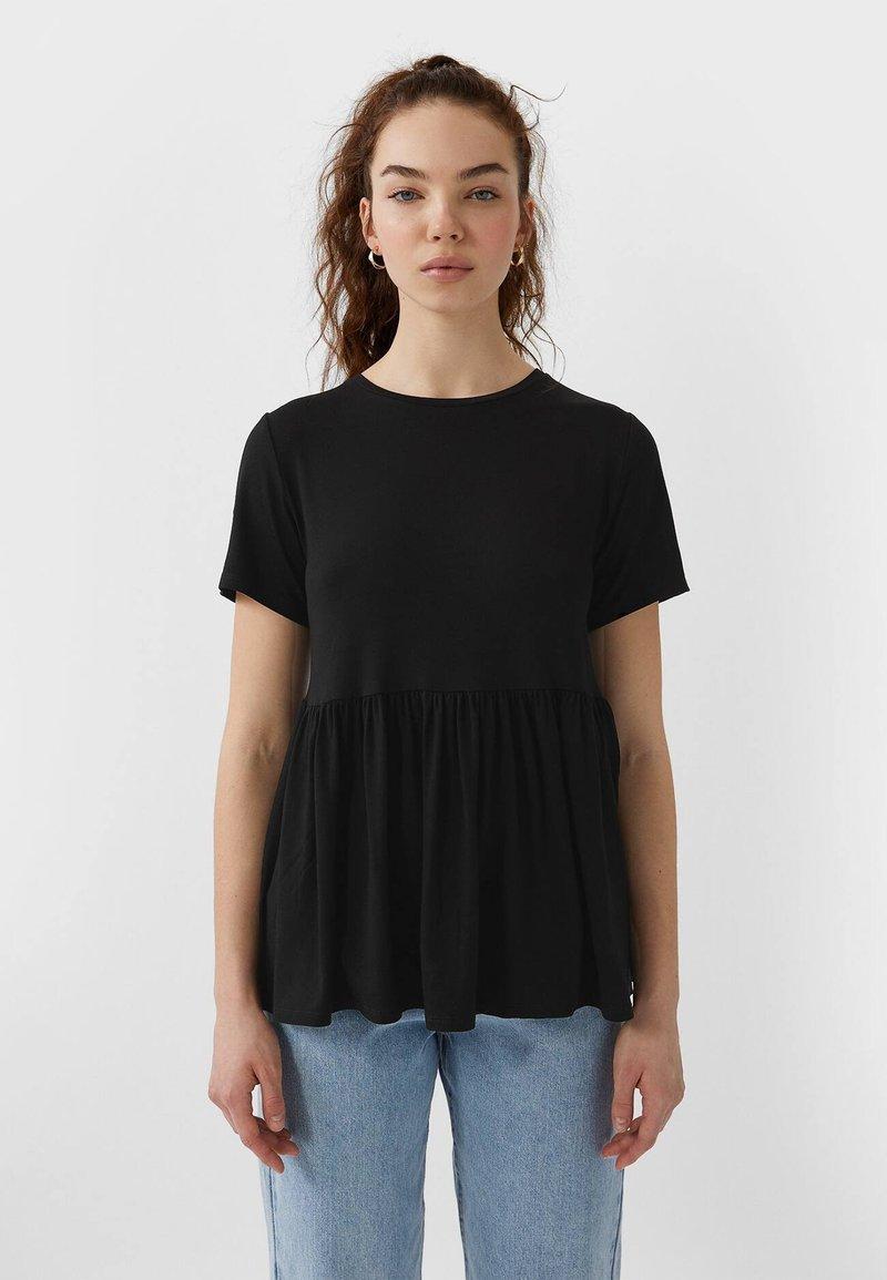 Stradivarius - BASIC-PEPLUM - T-shirts print - black