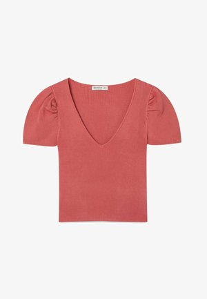 MIT V-AUSSCHNIT - Print T-shirt - pink