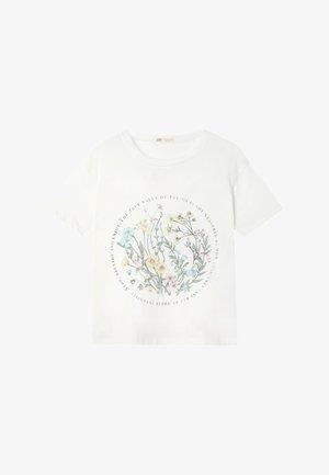 MIT BLUMENMUSTER  - T-shirt imprimé - white