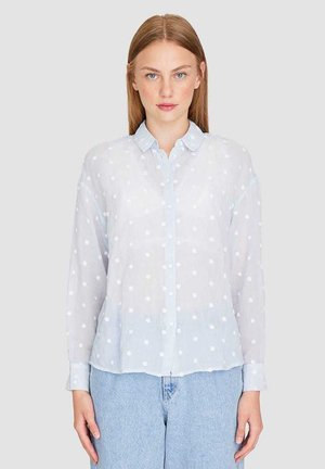 MIT BESTICKTEN TUPFEN  - Button-down blouse - blue