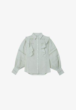 MIT VOLANTS  - Button-down blouse - turquoise